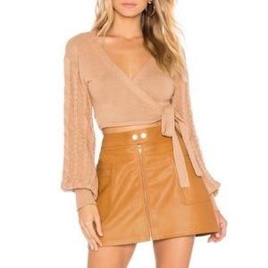 Free People high A-line vegan skirt 12 NWT copper
